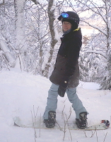 Attorney Marylou Scofield and her snowboard
